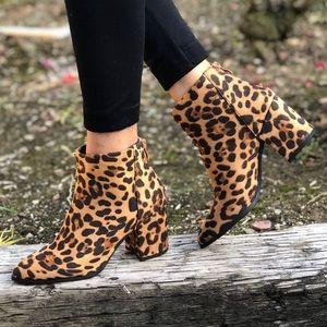 Vegan Suede Leopard Animal Zip Up Pointed Booties